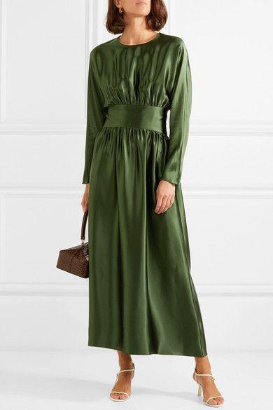 c06afa782f4 Deitas - Hermine pleated silk-satin midi dress in 2019