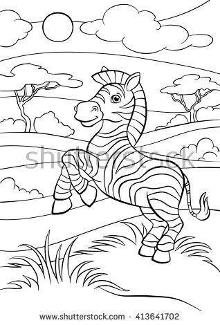 Coloring Pages Animals Little Cute Zebra Stands And Smiles Raskraski Raskraski S Zhivotnymi Zhivotnye