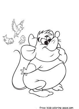 Coloriage Cendrillon Souris.Printable Disney Characters Cinderella S Mice And Birds