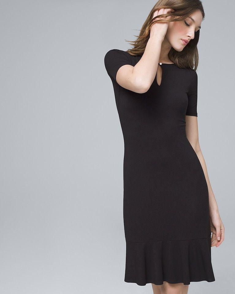 789011f06d Women s Flounce-Hem Black Knit Dress by White House Black Market in ...