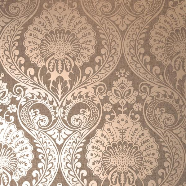 Arthouse Luxe Damask Chocolate Rose Gold Wallpaper 906605 The Home Depot Gold Damask Wallpaper Rose Gold Wallpaper Damask Wallpaper