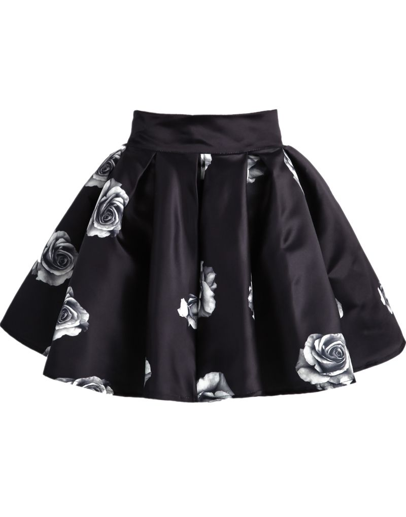 4ef665a80 Shop Black Rose Print Flare Skirt online. Sheinside offers Black Rose Print  Flare Skirt   more to fit your fashionable needs. Free Shipping Worldwide!