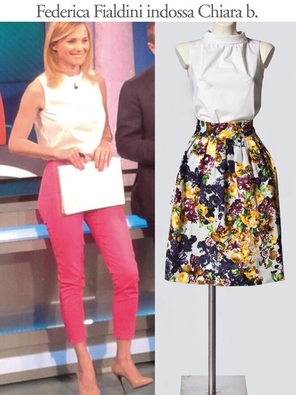 La blusa bianca sta benissimo anche con dei pantaloni capri! Il look di Federica Fialdini, conduttrice di Uno Mattina è firmato Chiara b.
