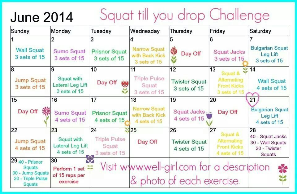 30 Day Squat Challenge Print Out – Dotprism info