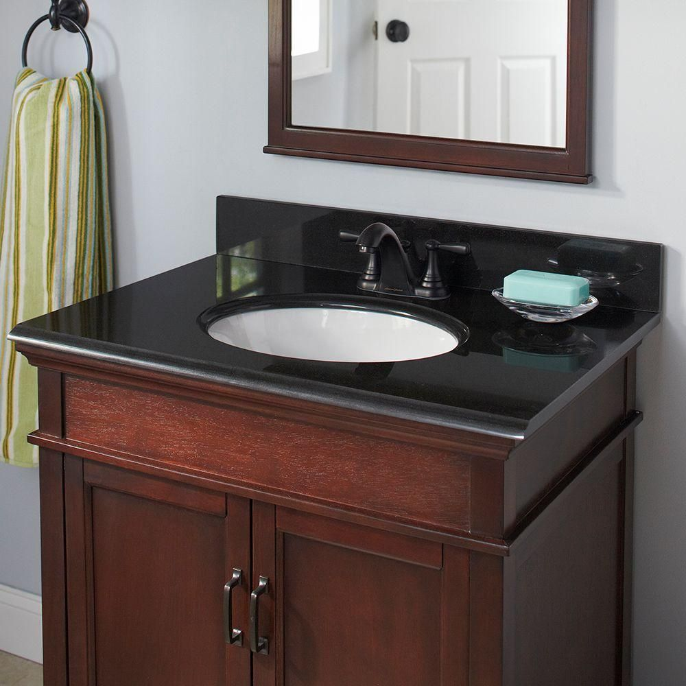 057b2bccc1b3c Pegasus 37 in. x 22 in. Granite Vanity Top in Midnight Black with White  Bowl and 4 in. Faucet Spread