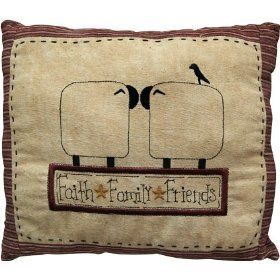 Pillow - Kissing Sheep Pillow - Primitive, Country Rustic Stitchery $19.99