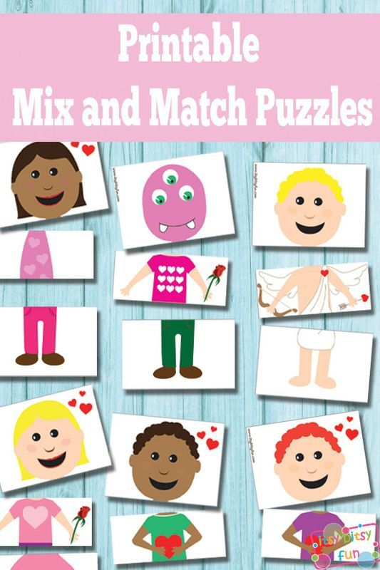 Printable Valentines Day Mix and Match Puzzles {Busy Bag | Busy bags ...
