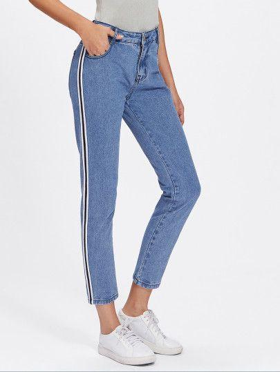 Stripe Side Jeans Shein Sheinside Striped Jeans Clothes Women Jeans