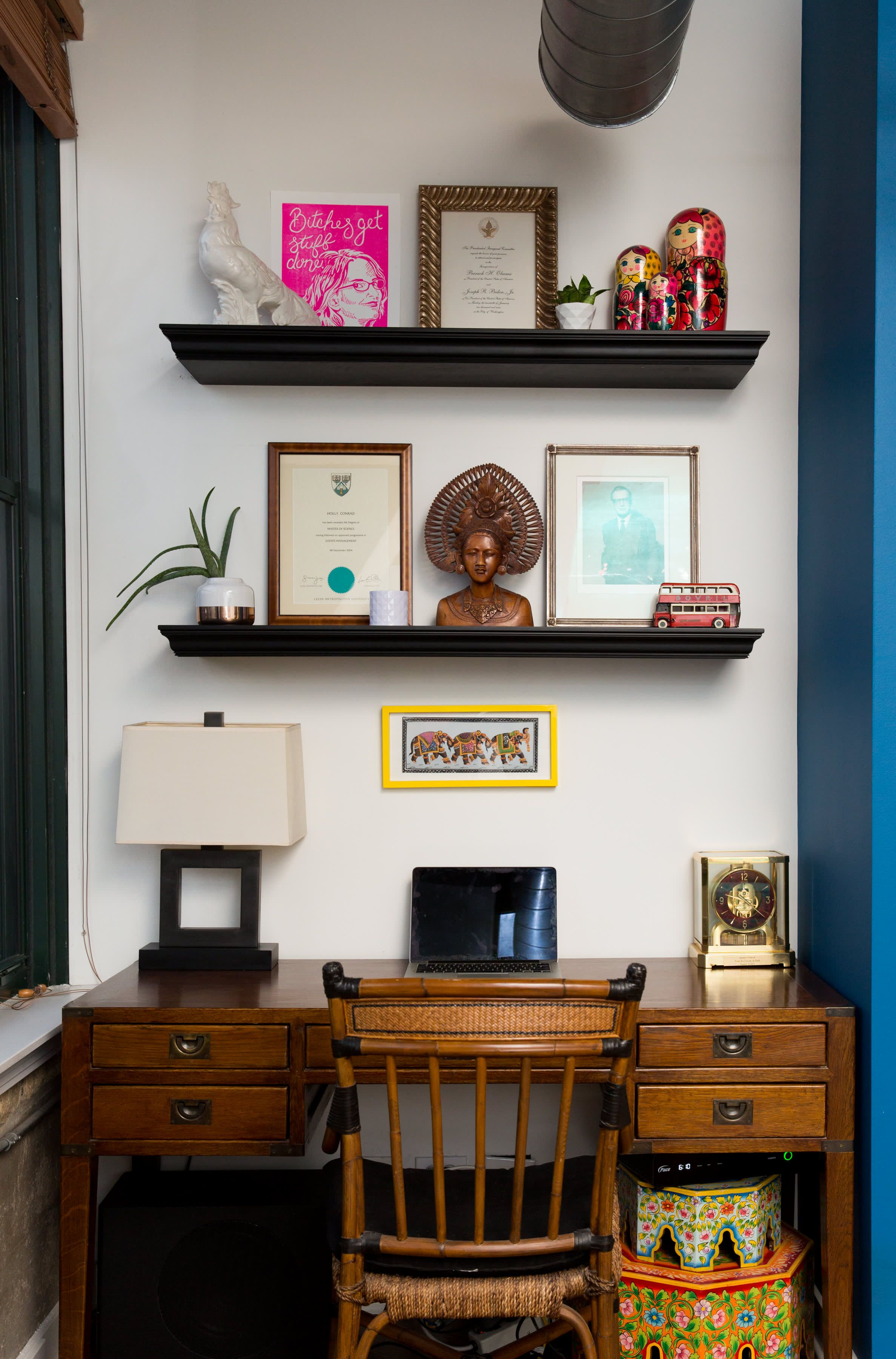 An Open Chicago Loft Apartment Is Full Of Color Loft Apartment Chicago Lofts Home Office Furniture