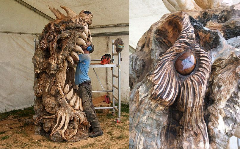 Chainsaw carved dragons english open carving