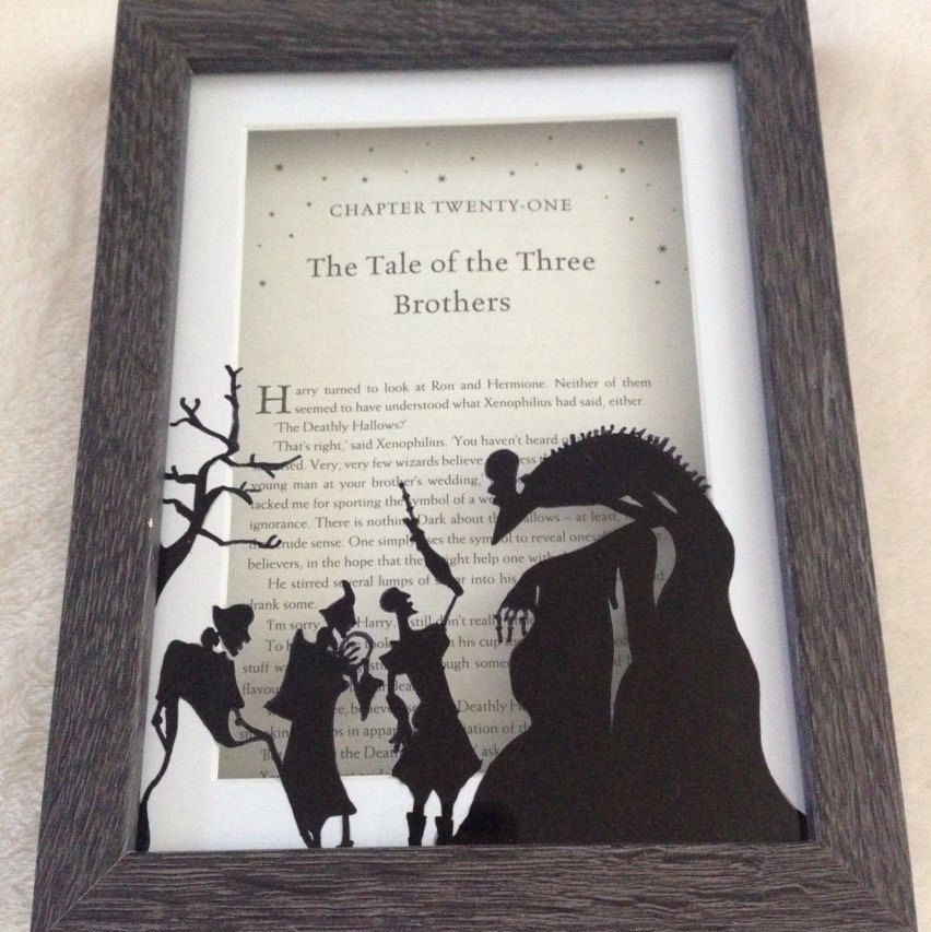 The Peverell brothers meet death in this hand drawn framed chapter title page