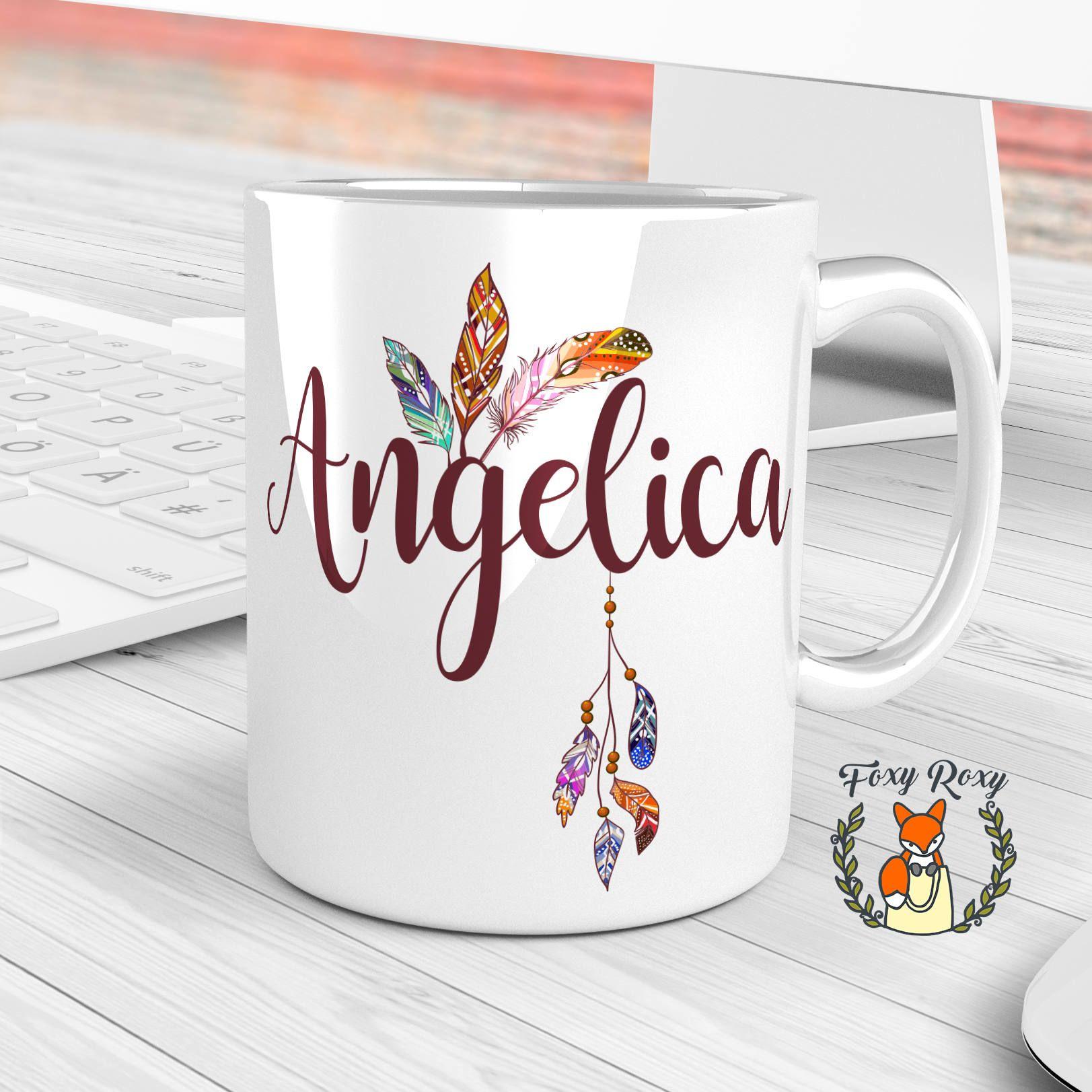Personalized Name Feathers Mug Custom Gift For Bridesmaid