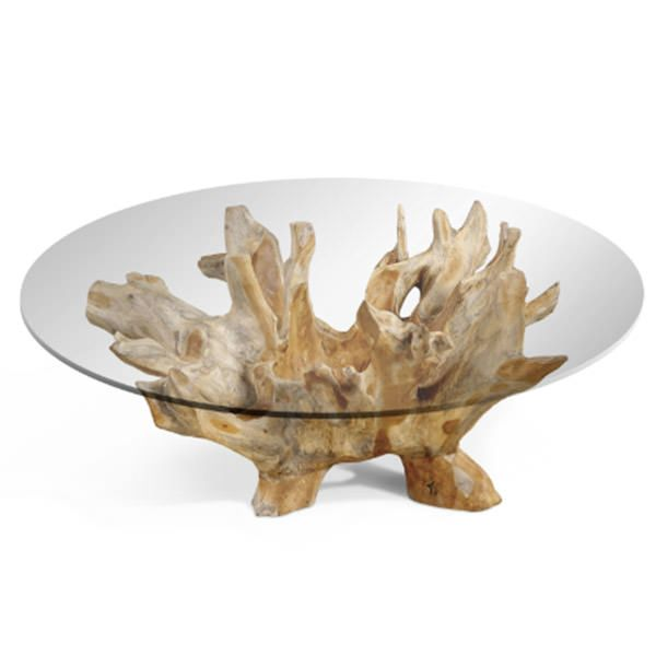 Teak Roots Coffee Table With Glass Top Natural Wood