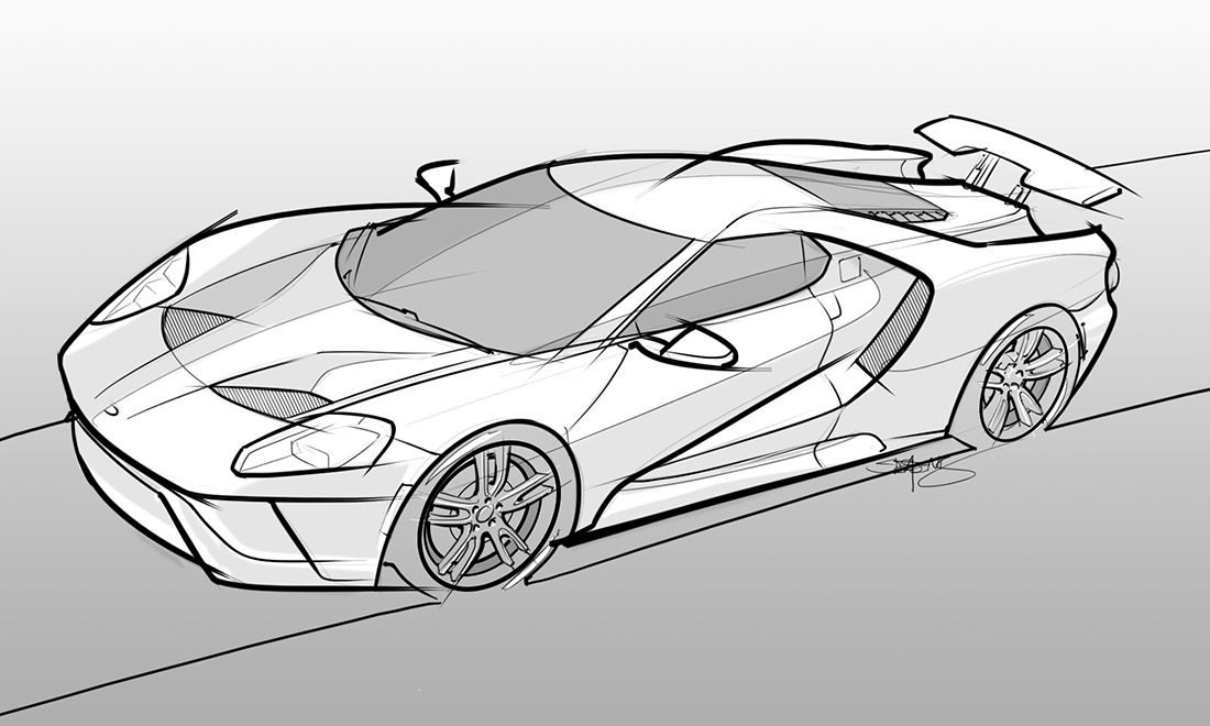 drawing of a 2017 ford gt