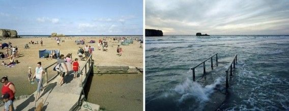 It varies dramatically by the ebb and flow of the tide. Before-after coastline of the United Kingdom