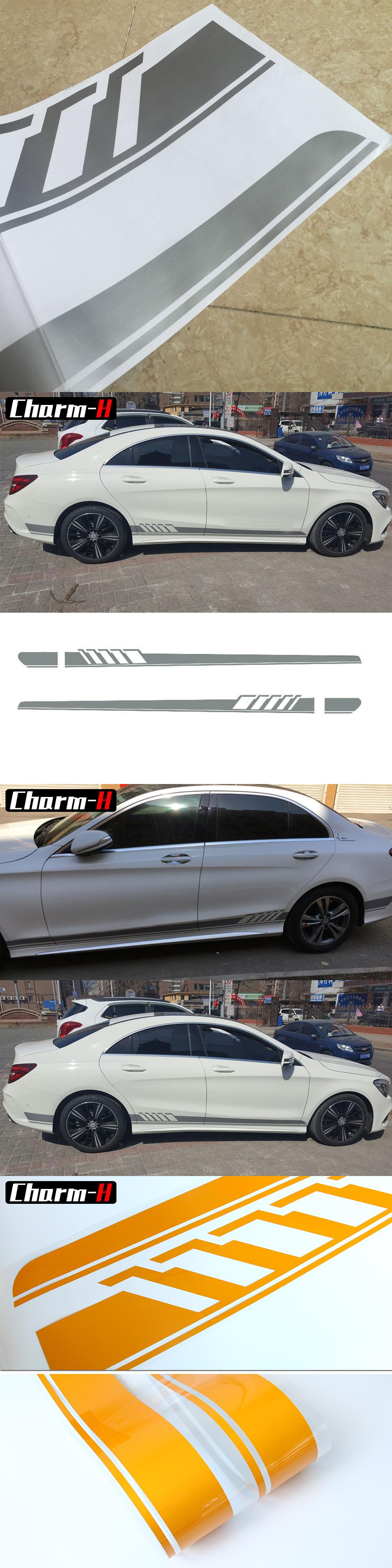 Silver Gray Car Side Skirt Decal Sticker For Mercedes Benz W205 C Class Amg Edition 1 Racing Stripe Stickers Racing Stripes Mercedes Benz Benz [ 4000 x 1000 Pixel ]