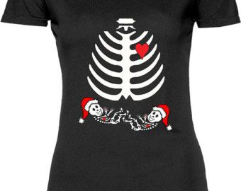 225a662e Funny Twins Baby Rib Cage Christmas Tshirt Gift T-shirt Shirt Womens Mother Christmas  Pregnant Gift X-ray Fun Maternity T-shirt Tee Shirt