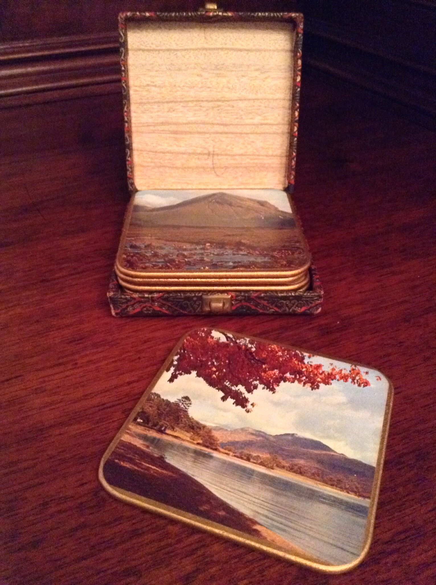 Vintage Coasters with Case