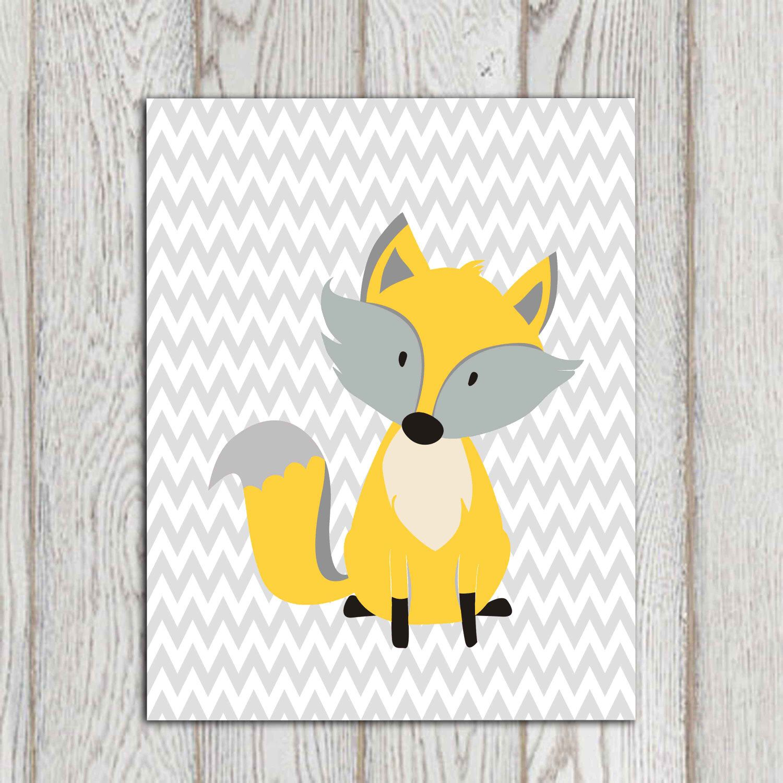 Fox wall art print Yellow nursery decor printable Gray chevron ...