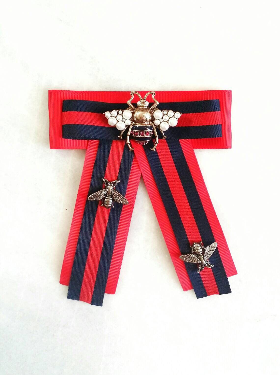 Bow Style Ribbon Green//Red Ribbon With Red Fab Vintage Bee With Pearls