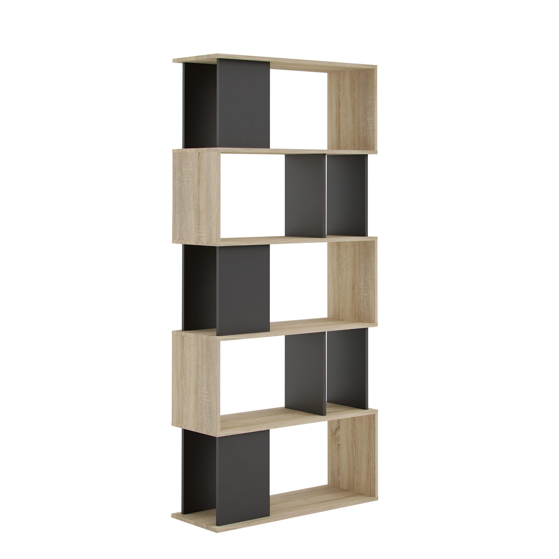 Biblioth Que L 80 Cm Class Imitation Ch Ne Noir Rangement Noir  # Bibliotheque But