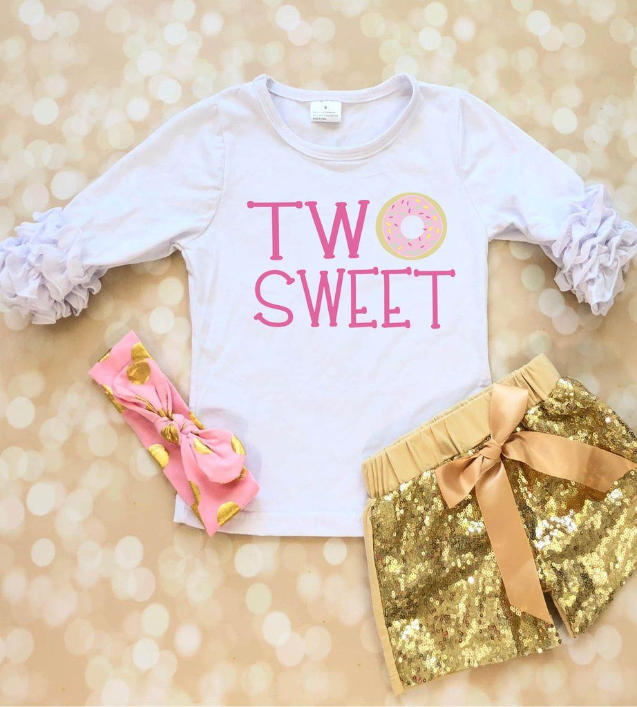 Two Sweet Doughnut 2nd Birthday Outfit for Girl First