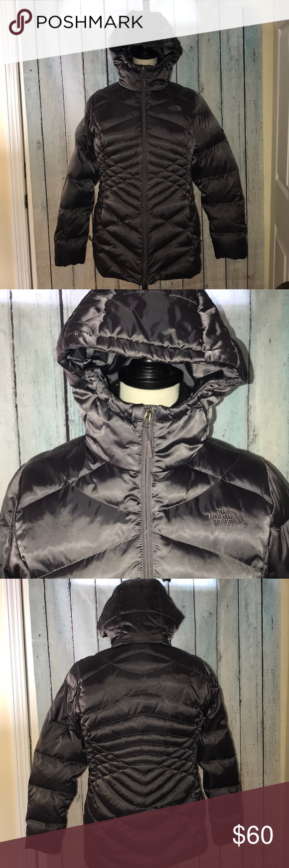 565949bb9 Large womens North Face Parka with hood eggplant The North Face ...