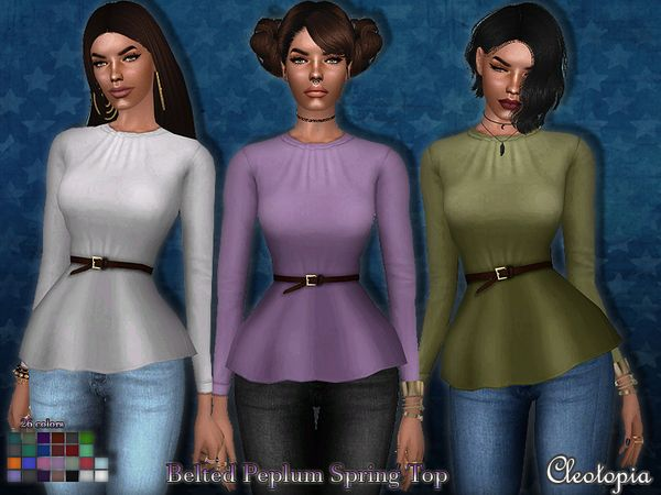 Belted Peplum Spring Top by Cleotopia at TSR via Sims 4 Updates