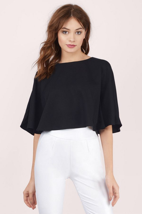 bdbb8cf16e87f7 Fall in love with the Cool Breeze Flutter Crop Top. Featuring capelet top.  Pair with high waisted skirt and heels.
