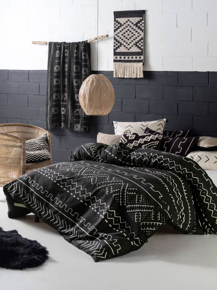 Linen House Bambara Quilt Covers African Mud Cloth Black Ivory
