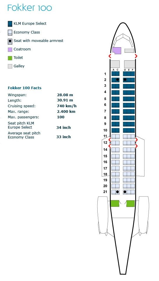 Klm Royal Dutch Airlines Fokker 100 Aircraft Seating Map Met
