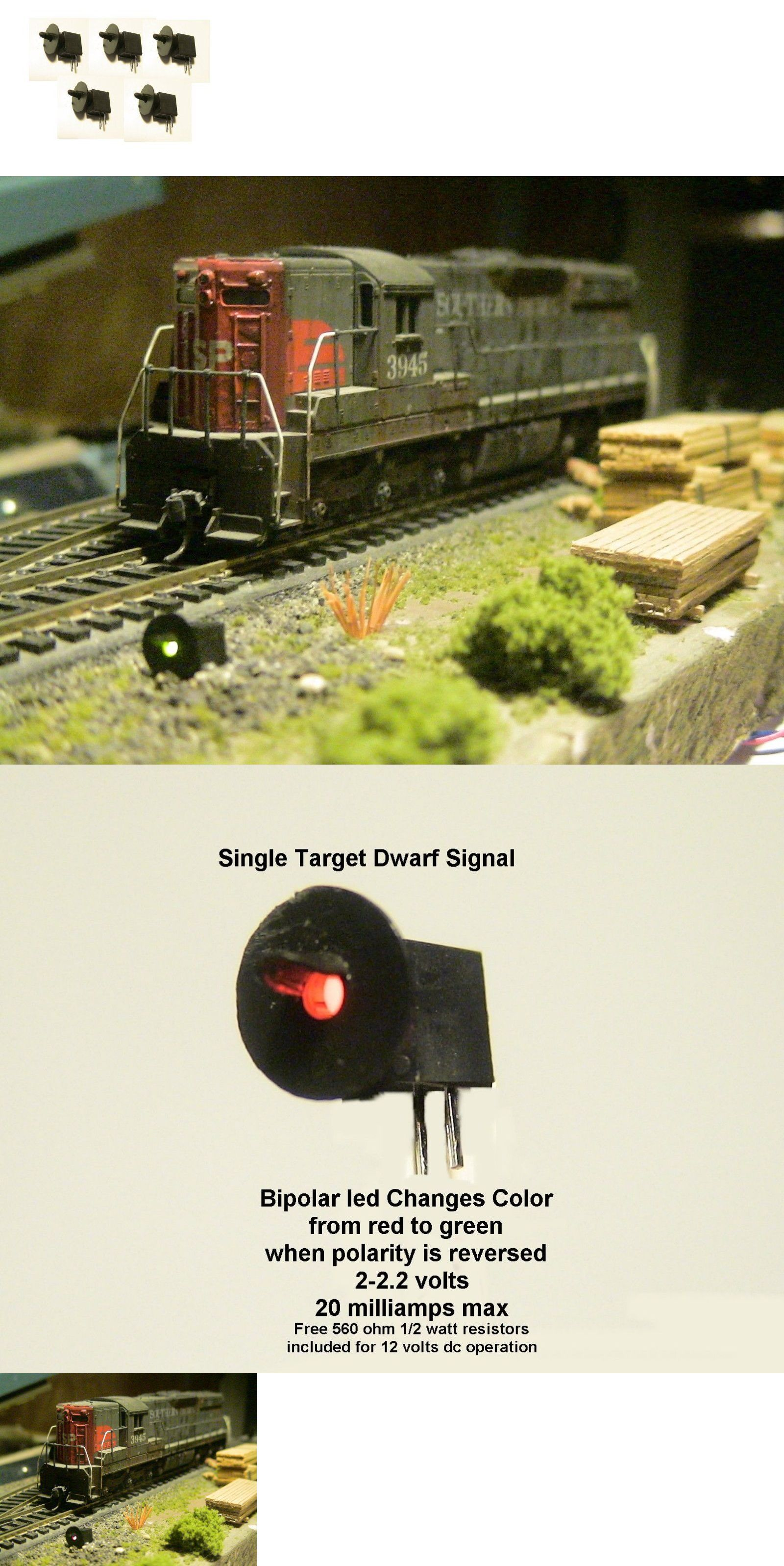 5 SINGLE TARGET HOODED  BIPOLAR HO SCALE 3MM DWARF LED SIGNALS