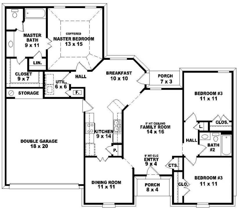 one story 3 bedroom 2 bath french traditional style house plan featuring a split plan design - One Story House Plans