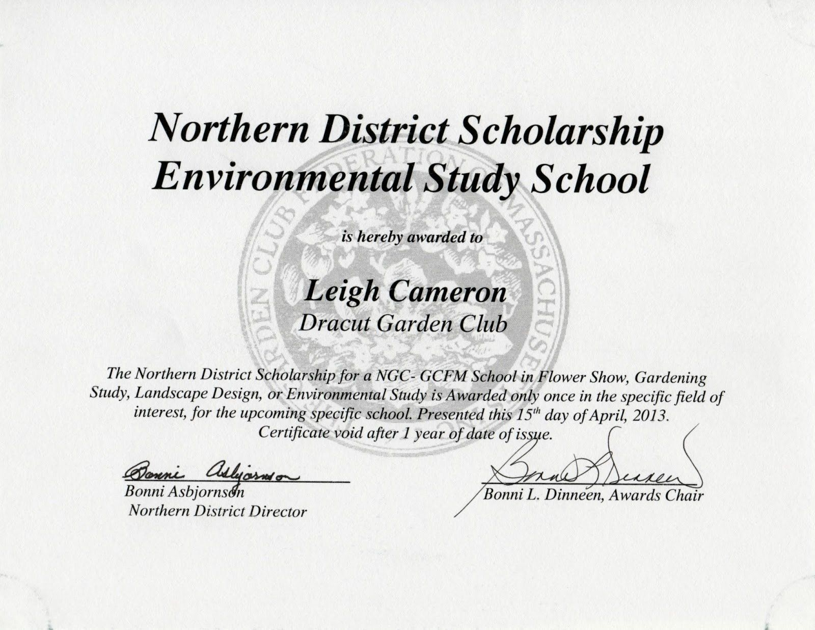 Formats for Scholarship Certificates Fresh Dracut Garden