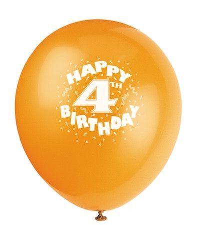Happy 4th Birthday Latex 12 Printed Balloons 8ct