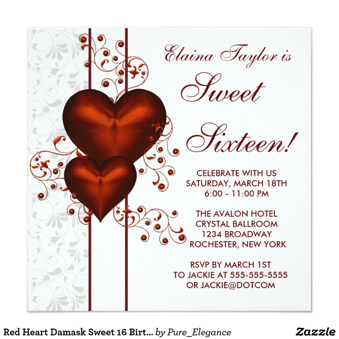 Red Heart Damask Sweet 16 Birthday Party Invitation | Pinterest ...
