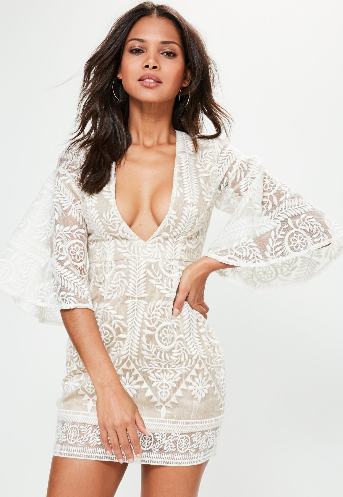 ee8151bc43f Missguided - Nude Kimono Flared Sleeve Lace Bodycon Dress | Bella ...