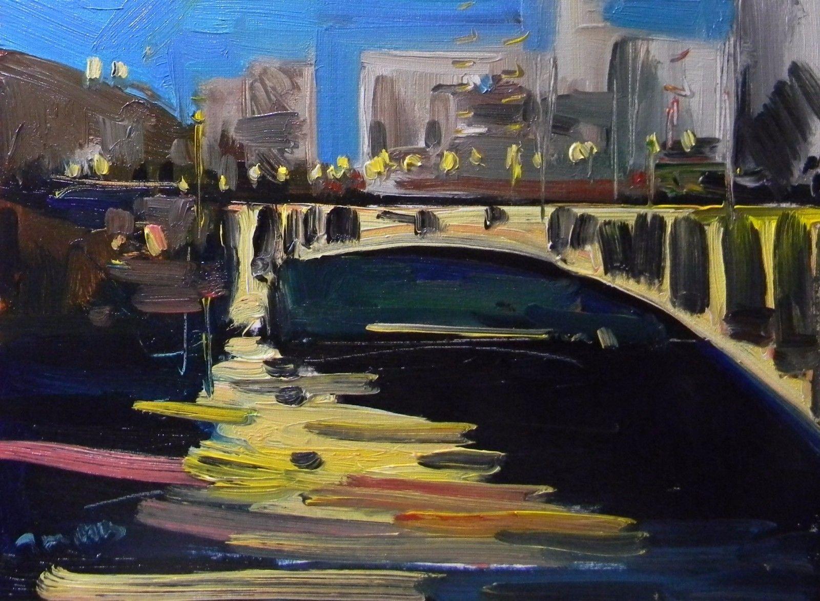 JOSE TRUJILLO Oil Painting Bridge Night City Buildings Lights Water Impressionis https://t.co/M0356ED03x https://t.co/EzQo4izvn3