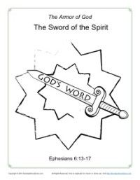 Sword Of The Spirit Coloring Page Armor Of God Bible Coloring Pages Armor Of God Lesson