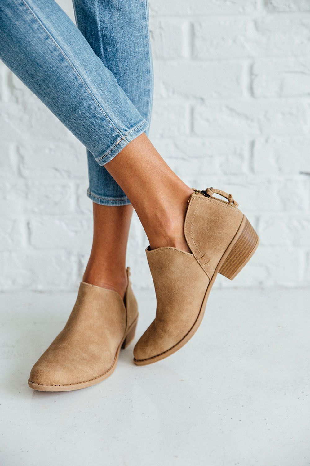 889373777a7 DETAILS  - Perfect Fall to Winter bootie to go with any outfit - Fits true  to size - Light Brown Color - Zipper Back Booties with V Cut sides - Very  ...