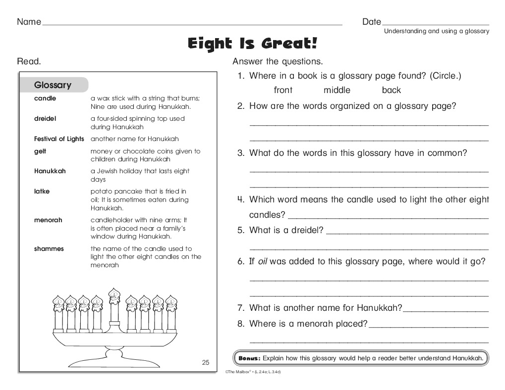 A Hanukkah Worksheet That Reinforces Vocabulary And Using A Glossary Glossary Activities Words Hanukkah [ 788 x 1019 Pixel ]