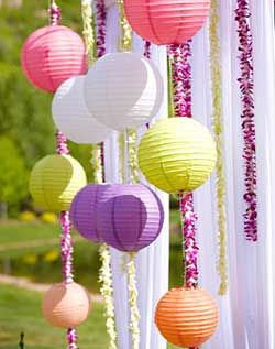 Use mini even ribbed round Chinese paper lanterns and attach to pretty ribbon to create a vertical bunting backdrop.