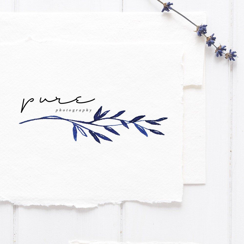 Floral calligraphy logo TEMPLATE, Blue leaves, Floral logo