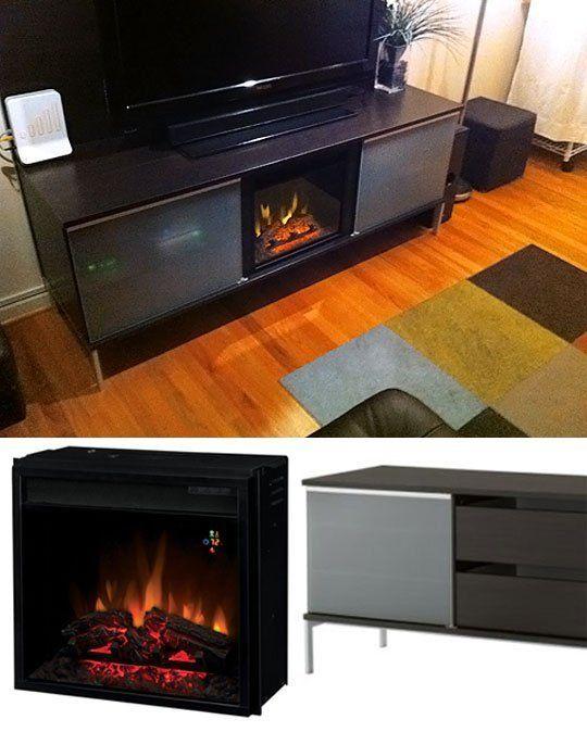 Ikea Entertainment Center Meets Electric Fireplace Ikea