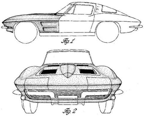 1963 Corvette Stingray. This image is from a patent for the 1963 Corvette Stingray filed in May, 1962 by William L. Mitchell on behalf of General Motors Corporation. This is an ornamental design for t