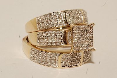 Diamond Trio Set His & Hers Engagement Ring Wedding Bridal Band White Gold Over