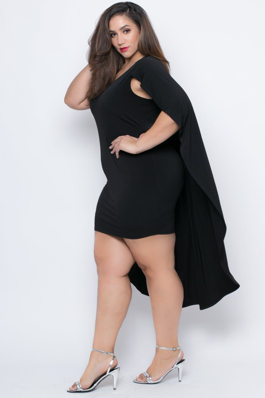 Bbw wedding dresses  Plus Size Ruffle Cape Dress  Black  Cape Ruffles and Black