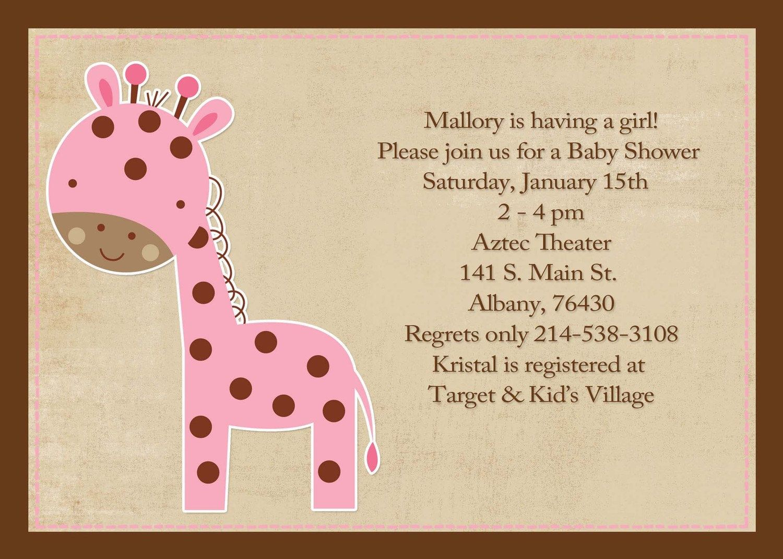 Girl Baby Shower Themes Giraffes | baby girl shower invitations ...