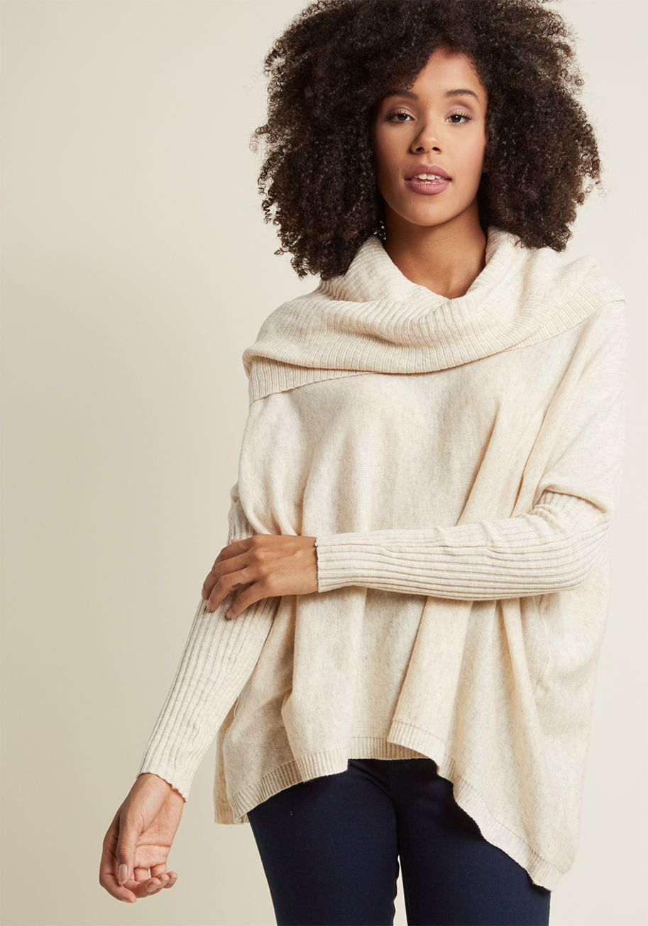 4301b0e8dec5 When the day calls for an afternoon of snuggling, you answer in this ivory  sweater. As you sip your tea and burrow on the couch, the cowl neckline,  drop.