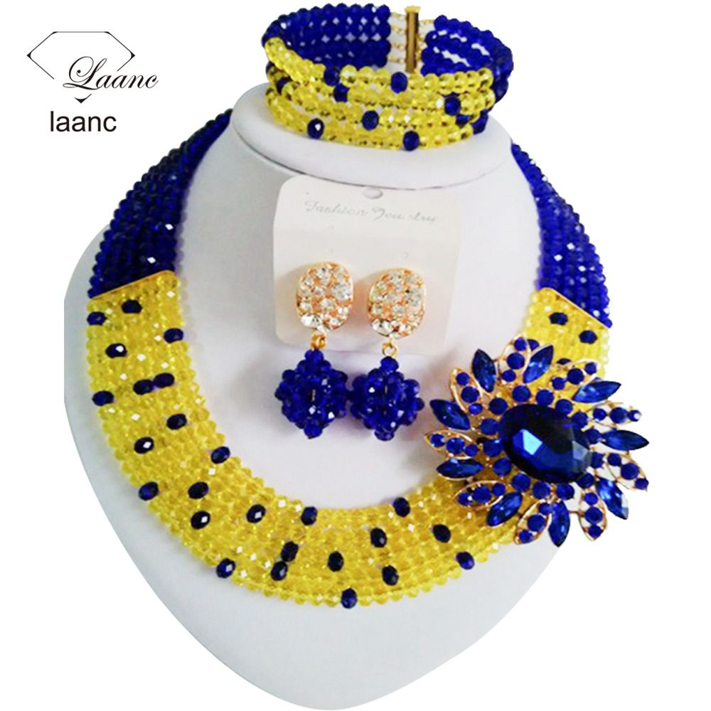 Beautiful Royal Blue Yellow crystal necklaces costume jewelry